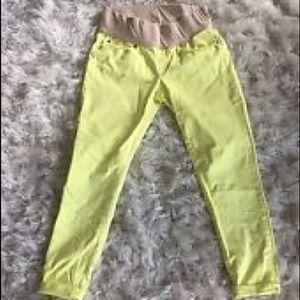 Gap Maternity 1969 Legging Jeans Neon Yellow Pants
